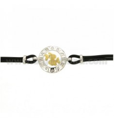 RUBBER BRACELET WITH ZODIAC PISCES IN AG TIT 925 ‰ TWO-TONE CM 18