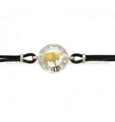 RUBBER BRACELET WITH BULL SCALE IN AG TIT 925 ‰ TWO-TONE CM 18