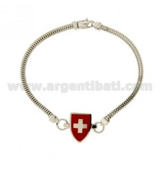 BRACCIALE TUBO GAS QUADRATO MM 3X3 CON SCUDO SMALTATO IN AG TIT 925‰ CM 20