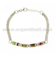 DOUBLE ROLO BRACELET WITH FLAGS IN AG RHODIUM TIT 925 ‰ AND ENAMEL CM 18-20