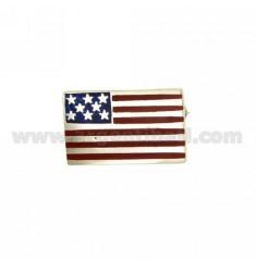 BROOCH VINTAGE AMERICAN FLAG 24x15 MM SILVER TIT 925 ‰ AND POLISH