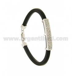 BLACK RUBBER BRACELET 4.5 MM WITH PLATE WITH ZIRCONIA PAVE IN RHODIUM-PLATED SILVER TIT 925 ‰