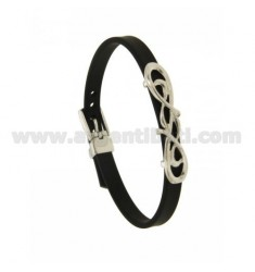 BRACELET RUBBER &39BLACK WITH 6 MM flourish CENTRAL AND BUCKLE SILVER RHODIUM TIT 925 ‰ CM 20
