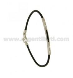 Armband Kautschuk &39BLACK 2 MM Rohr mit Platte CENTRAL und Schließen In silber rhodium TIT 925 ‰ 19 CM