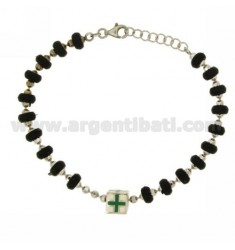BRACELET WITH RUBBER WASHERS 6 MM WITH CENTRAL ENAMELED CUBE WITH ASSORTED COLORS IN RHODIUM-PLATED SILVER TIT 925 ‰ CM 17-19
