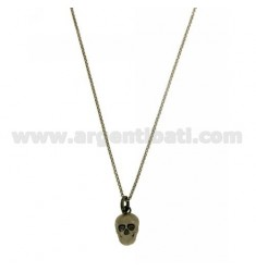 MICRO ROLO CHAIN 'CM 45-50 WITH SKULL 14X8 MM IN RHODIUM-PLATED SILVER AND Ruthenium TIT 925 ‰