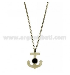 ROLO CHAIN 'CM 50 WITH ANCHOR 23X19 MM IN AG BURNISHED TIT 925 ‰ AND ENAMEL