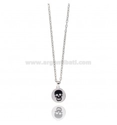CHAIN CABLE 50 CM WITH CHARM ROUND 20 MM GLAZED SKULL IN SILVER RHODIUM TIT 925 ‰