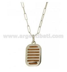 CHAIN CABLE 50 CM MIT CHARME KISSEN 33X20 MM Silber rhodiniert GOLD UND ROSE TIT 925 ‰