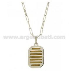 CHAIN CABLE 50 CM MIT CHARME KISSEN 33X20 MM Silber rhodiniert oder vergoldet TIT 925 ‰