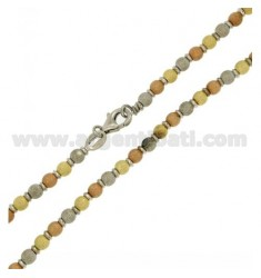 NECKLACE BALL dotted 4 MM IN AG TIT 925 ‰ PLATED GOLD, PINK GOLD AND RHODIUM
