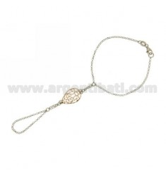 Kiss ROLO CHAIN &39DIAMOND WITH DROP THROUGH 21x16 MM SILVER RHODIUM AND GOLD PLATED PINK TIT 925 ‰