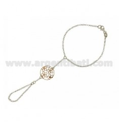 Kiss ROLO CHAIN &39DIAMOND WITH ROUND TRAFORATO MM 19 SILVER RHODIUM AND GOLD PLATED PINK TIT 925 ‰