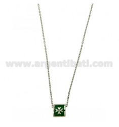 CHAIN CABLE CM 45.50 SQUARE WITH THROUGH GLAZED GREEN 9X9 MM SILVER RHODIUM TIT 925 ‰