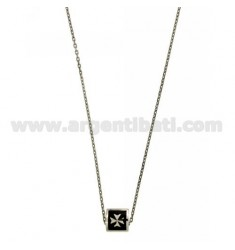 CHAIN CABLE CM 45.50 SQUARE WITH THROUGH 9X9 MM GLAZED BLACK SILVER RHODIUM TIT 925 ‰