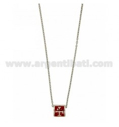 CHAIN CABLE CM 45.50 SQUARE WITH THROUGH 9X9 MM GLAZED RED SILVER RHODIUM TIT 925 ‰
