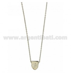 CHAIN CABLE WITH SHIELD CM 45.50 THROUGH 12x9 MM GLAZED WHITE SILVER RHODIUM TIT 925 ‰