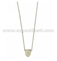 CHAIN Kabel mit Schirm CM 45.50 DURCH 12x9 MM weiß glasiert Silber Rhodium TIT 925 ‰