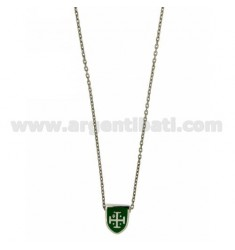 CHAIN CABLE WITH SHIELD CM 45.50 THROUGH 12x9 MM GREEN GLAZED SILVER RHODIUM TIT 925 ‰