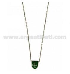 CHAIN Kabel mit Schirm CM 45.50 DURCH 12x9 MM grün glasierten Silber Rhodium TIT 925 ‰