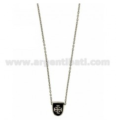 CHAIN CABLE WITH SHIELD CM 45.50 THROUGH 12x9 MM GLAZED BLACK SILVER RHODIUM TIT 925 ‰