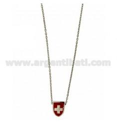 CHAIN Kabel mit Schirm CM 45.50 DURCH 12x9 MM GLAZED RED Silber Rhodium TIT 925 ‰