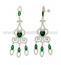 76X23 MM EARRINGS SILVER RHODIUM TIT 925 ‰ AND ZIRCONIA WHITE AND GREEN