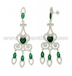 76X23 MM Ohrringe Silber RHODIUM TIT 925 ‰ und Zirkonia weiß und grün