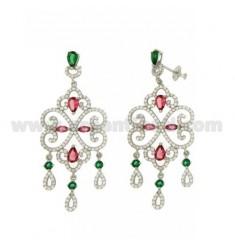 57X25 MM Ohrringe Silber RHODIUM TIT 925 ‰ und Zirkonia weiß, grün und pink