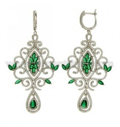 73X37 MM EARRINGS SILVER RHODIUM TIT 925 ‰ AND ZIRCONIA WHITE AND GREEN