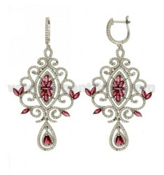73X37 MM EARRINGS SILVER RHODIUM TIT 925 ‰ AND ZIRCONIA WHITE AND PINK