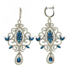73X37 MM Ohrringe Silber RHODIUM TIT 925 ‰ und Zirkonia weiß und blau