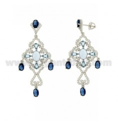 56X22 MM Ohrringe Silber RHODIUM TIT 925 ‰ und Zirkonia weiß und blau CELESTIAL