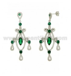 60x24 MM EARRINGS SILVER RHODIUM TIT 925 ‰ AND ZIRCONIA WHITE AND GREEN
