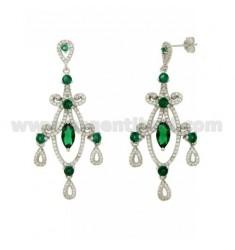 60x24 MM Ohrringe Silber RHODIUM TIT 925 ‰ und Zirkonia weiß und grün