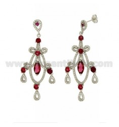 60x24 MM EARRINGS SILVER RHODIUM TIT 925 ‰ AND ZIRCONIA WHITE AND PINK