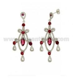 60x24 MM Ohrringe Silber RHODIUM TIT 925 ‰ und Zirkonia weiß und rosa
