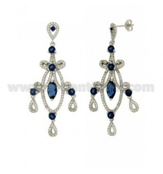 60x24 MM EARRINGS SILVER RHODIUM TIT 925 ‰ AND ZIRCONIA WHITE AND BLUE