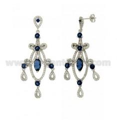 60x24 MM Ohrringe Silber RHODIUM TIT 925 ‰ und Zirkonia weiß und blau