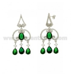 51X23 MM EARRINGS SILVER RHODIUM TIT 925 ‰ AND ZIRCONIA WHITE AND GREEN