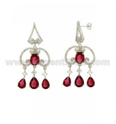 51X23 MM EARRINGS SILVER RHODIUM TIT 925 ‰ AND ZIRCONIA WHITE AND PINK