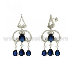 51X23 MM EARRINGS SILVER RHODIUM TIT 925 ‰ AND ZIRCONIA WHITE AND BLUE