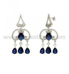 51X23 MM Ohrringe Silber RHODIUM TIT 925 ‰ und Zirkonia weiß und blau