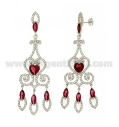 76X23 MM EARRINGS SILVER RHODIUM TIT 925 ‰ AND RED AND WHITE ZIRCONIA