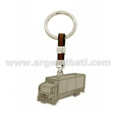 TIR AG KEY IN RHODIUM 925 ‰ AND LEATHER