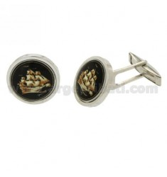 GEMINI ROUND 17 MM WITH SAILING SHIP IN CERAMICS IN AG TIT RODIATO 925 ‰