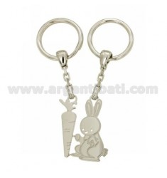 KEYCHAINS DIVISIBLE RABBIT AND CARROT WITH BRISE 'HOOK IN SILVER TIT 925