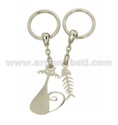 KEYCHAIN DIVISIBLE CAT AND SMOOTH WITH HOOK A BRISE 'IN SILVER TIT 925