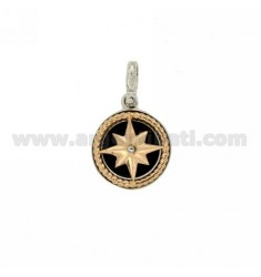 CHARM ROUND 15 MM WITH WIND ROSE ROSE GOLD AND SILVER PLATED RHODIUM TIT 925 ‰ AND POLISH ZIRCONE