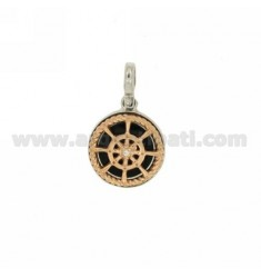 CHARM ROUND 15 MM WITH HELM IN SILVER RHODIUM AND GOLD PLATED PINK TIT 925 ‰ AND POLISH ZIRCONE
